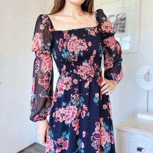 June & Hudson Black Pink Floral Smocked Boho Dress
